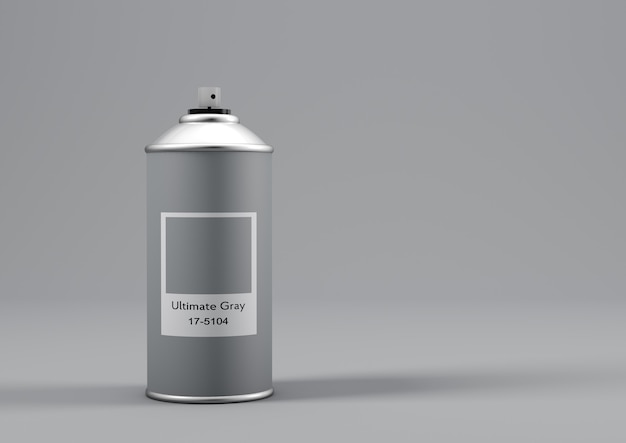 Spray paint can with the color of the year 2021 called ultimate gray