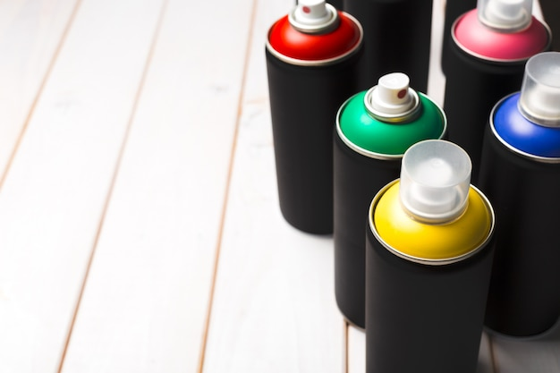 Spray paint cans close up