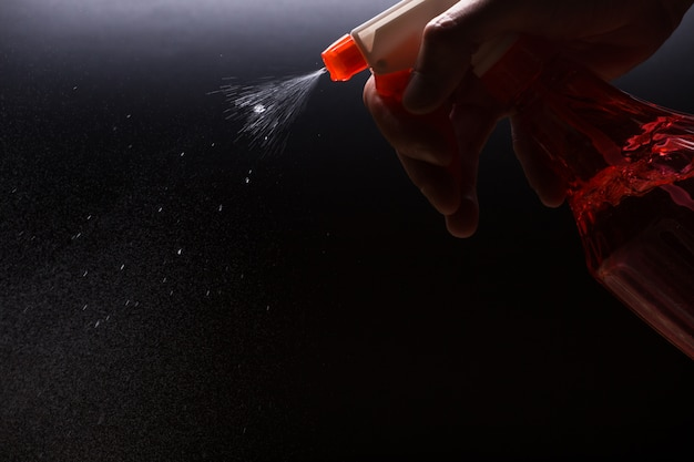 Spray with a water jet close-up