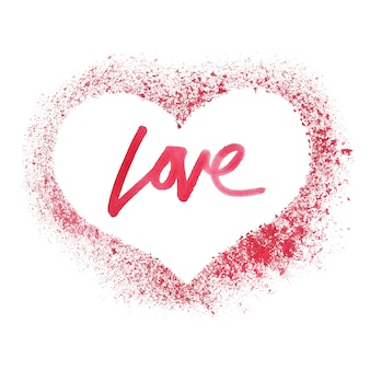 Sprayed red heart isolated on a white background - valentine's card