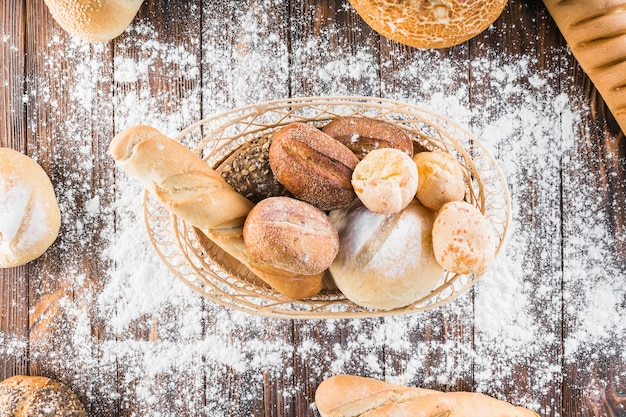 Spread flour over the breads basket on the wooden table