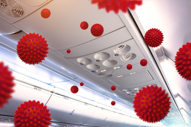 Spread of the virus through the ventilation system in the passenger cabin. coronavirus infection sars-cov-2, 2019-ncov.