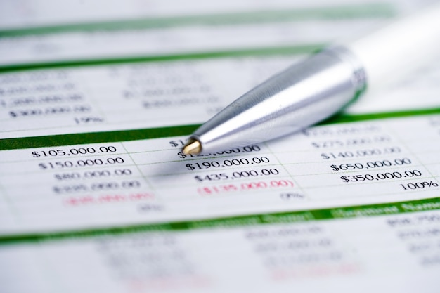 스프레드 시트 테이블 페이퍼 금융 개발