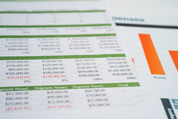 Spreadsheet table paper with graph finance development banking account statistics