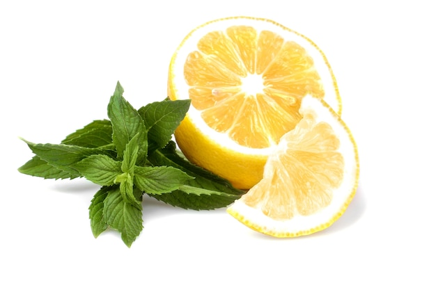 A sprig of fresh mint with lemon. isolated