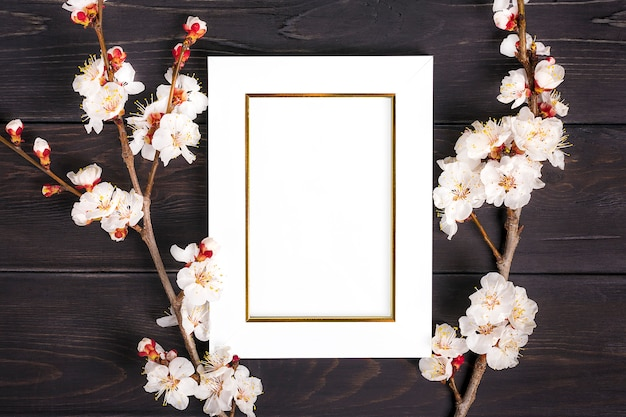 Sprigs of the apricot tree with flowers and white photo frame on wooden background.
