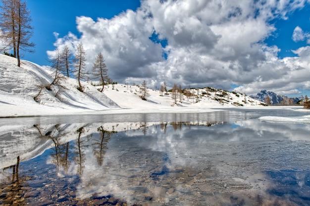 山の中の高山湖の近くで春と雪解け