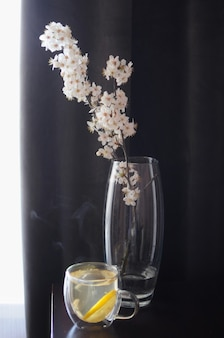 Spring apple blossom flowers in vase on dark background with glass cup of lemon tea home minimalism