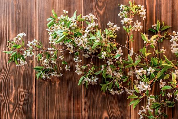 テーブルの上の春のリンゴの花