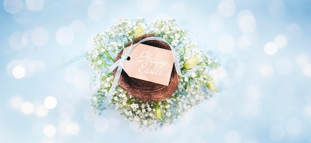 봄 배경, 계란, 행복 한 부활절과 둥지