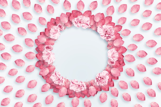 Spring background, round frame, a wreath of pink, red carnations on a light background
