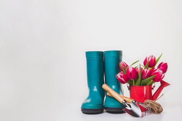 Весенний фон с цветами и садоводческих элементами