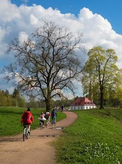自然の中で家族全員で春の自転車に乗る。公園で散歩に家族のサイクリスト。