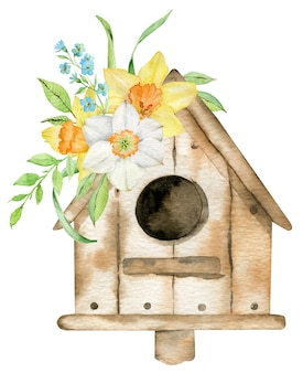 Spring bird house with yellow narcissuses and forget-me-not flowers. watercolor hand-drawn illustration.