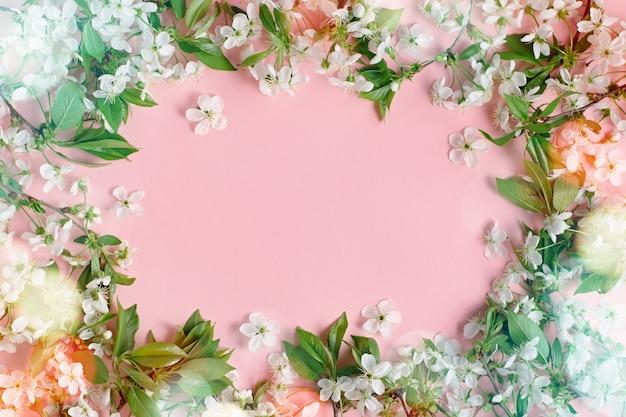 春の花。パステル調の背景に平らな桜の花。白い花、ボケ味、コピースペースとグリーティングカード