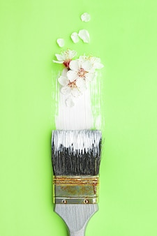 Spring blossom concept. paint brush with apricot blossom flower on green background.