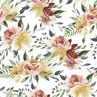 Spring blossom pink and burgundy and coral flowers seamless watercolor pattern