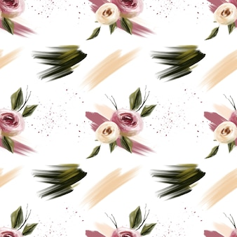 Spring blossom pink and coral flowers and stains  seamless pattern