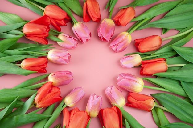 Весенний букет тюльпанов, расположенных по кругу на розовом фоне