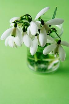 バスの中で白いスノードロップの春の花束。緑の背景