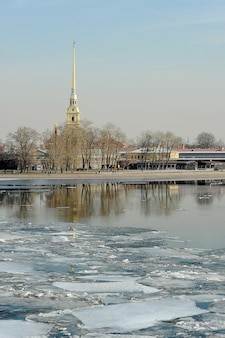 Spring break on the neva. view of the peter and paul fortress in st. petersburg, russia