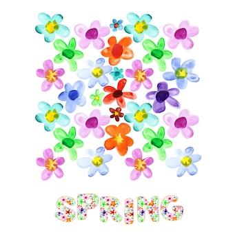 春-カラフルな水彩花