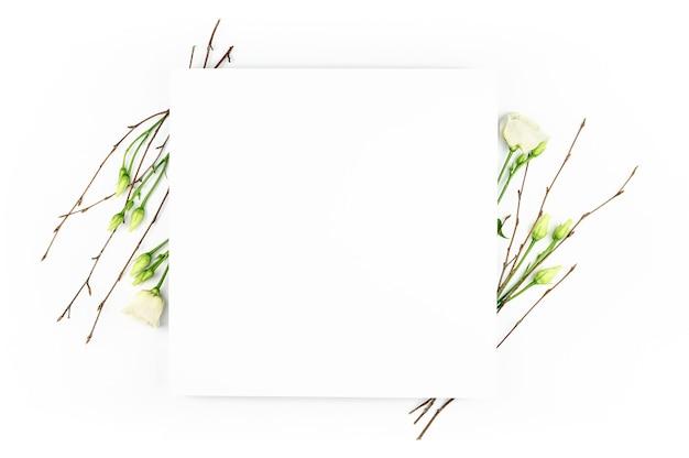 Весенняя композиция. белые цветы, бумага пустой белый фон. плоская планировка, вид сверху, копия пространства, макет.