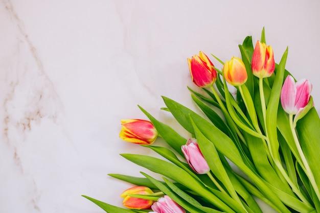 봄 개념. 대리석 바탕에 분홍색과 빨간 튤립입니다. 공간을 복사하고 평평하게 놓습니다.
