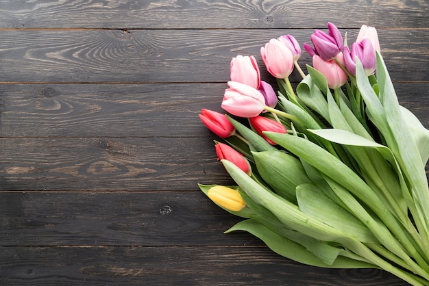 봄 개념. 검은 나무 배경에 튤립 꽃다발