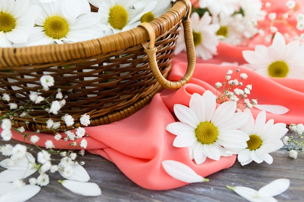 Spring concept with basket of flowers