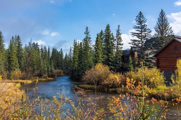 秋の晴れた日の春の小川とキャンモアオペラハウス Premium写真
