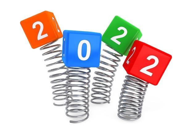 흰색 바탕에 2022년 새해 기호가 있는 스프링 큐브. 3d 렌더링