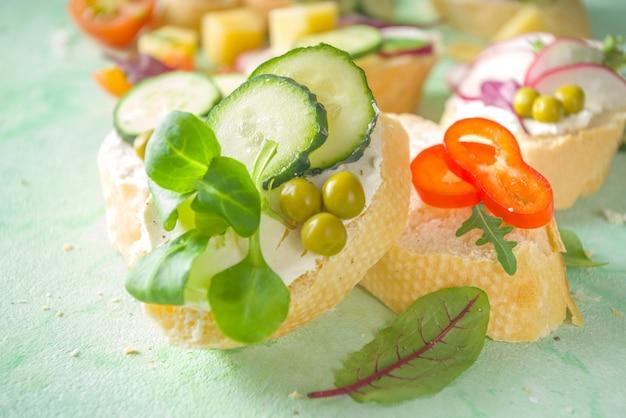Spring diet healthy food background. breakfast sandwich with baguette toast bread