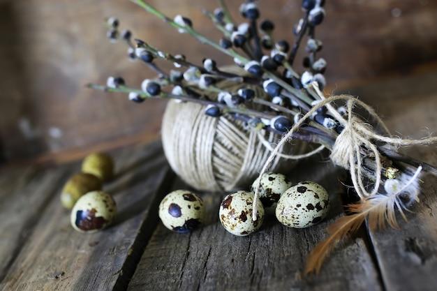 봄 달걀 나뭇가지 버드 나무 배경
