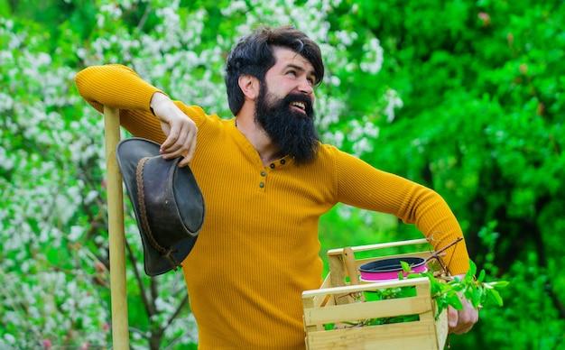Весеннее сельское хозяйство, садоводство, улыбающийся садовник или фермер с ящиком садовых инструментов, бородатый мужчина, работающий в саду.