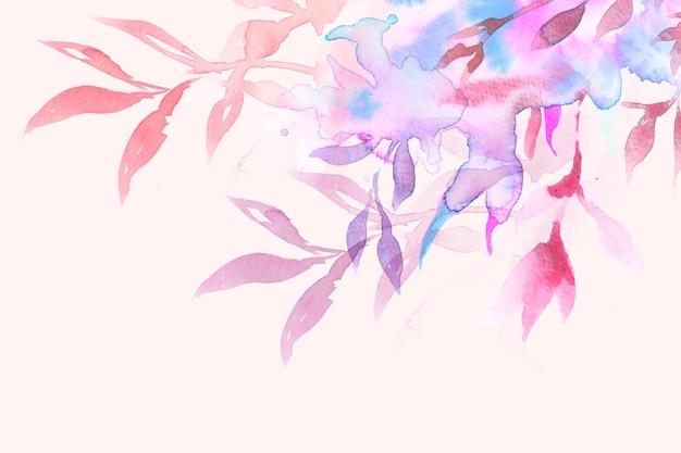 Весенний цветочный фон границы в розовом с акварельной иллюстрацией листьев