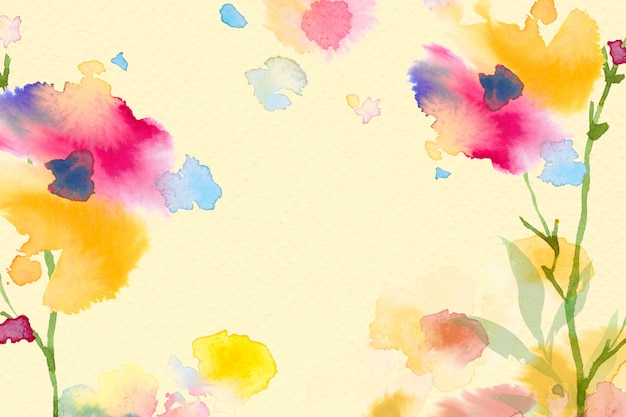 Spring floral border background in yellow with flower watercolor illustration