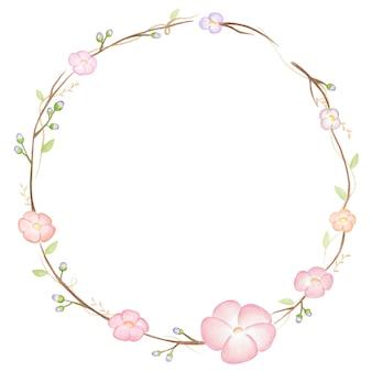 水彩で描かれた春の花の花輪の画像