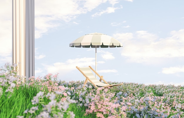 Spring flower field scene with beach chair and umbrella