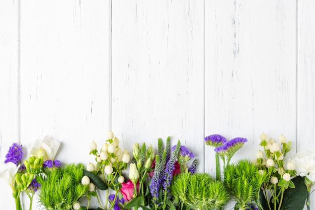 Spring flowers background with copy space