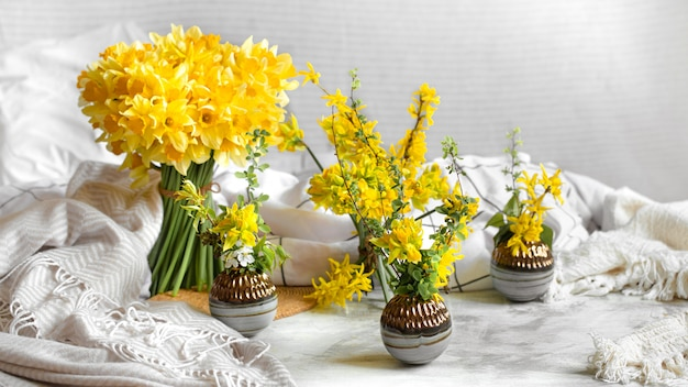 Spring flowers and blooms in a cozy home atmosphere.