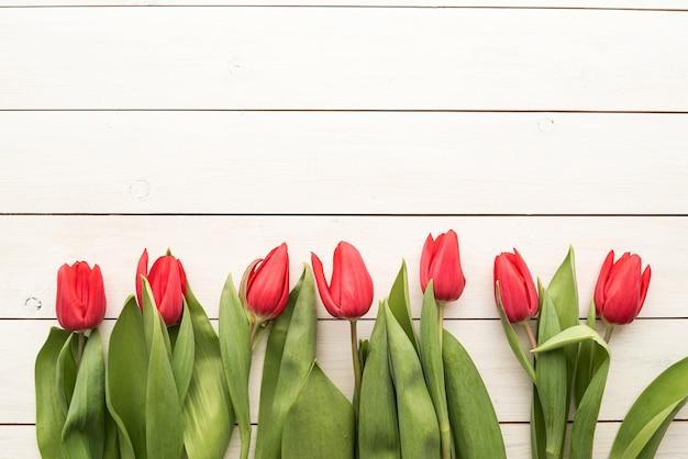 春、花のコンセプト。白い木製のテーブルの背景、コピースペースの上の赤いチューリップ