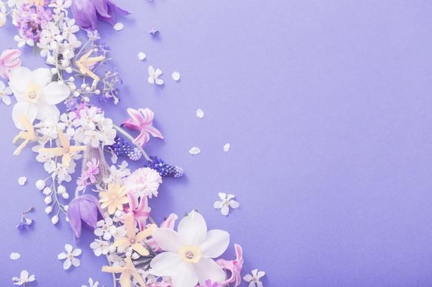 Весенние цветы на фоне бумаги