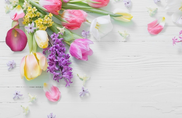 흰색 나무 바탕에 봄 꽃