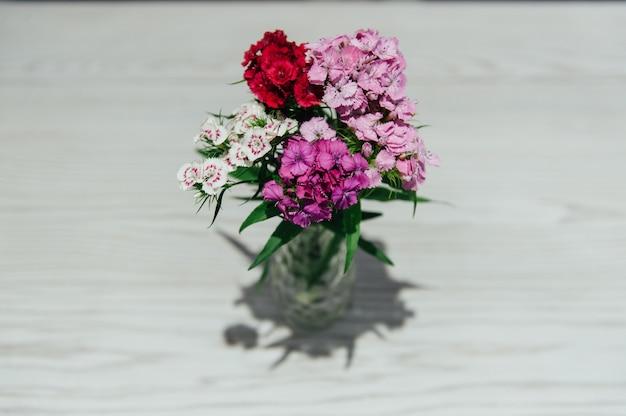 春の花は白いレンガの背景に設定