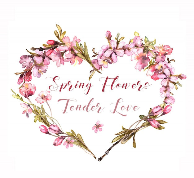 Spring flowers watercolor. tender blush heart.