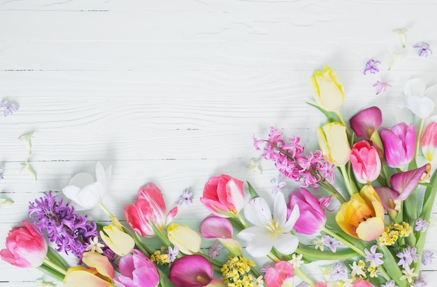 Spring flowers on white wooden background