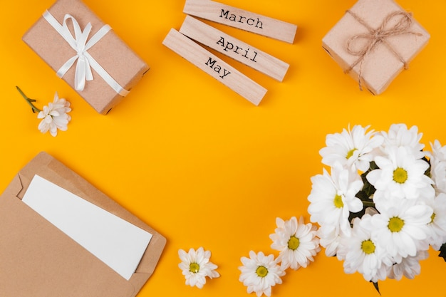 Spring gift elements arrangement with copy space
