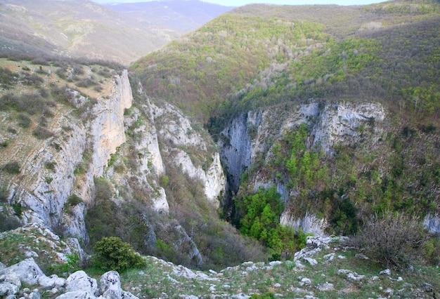 Весной большой крымский каньон с видом на горы и сосны на склоне