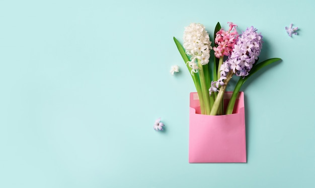 Spring hyacinth flowers in pink postal envelope